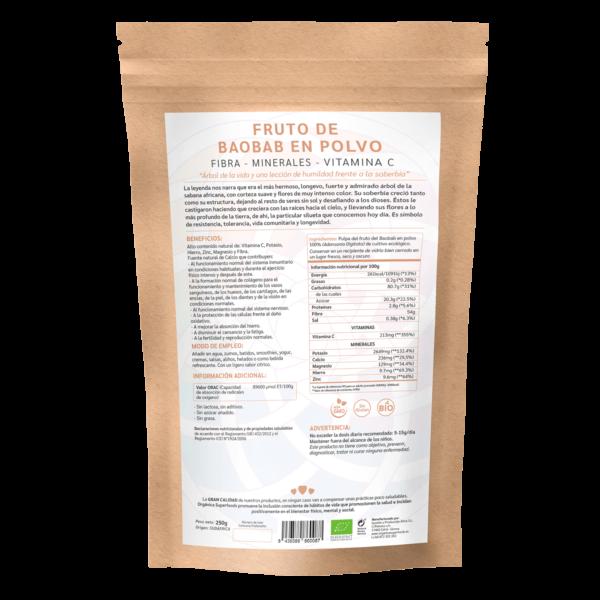 comprar baobab en polvo, un superalimento con beneficios y propiedades para una vida saludable y una alimentación equilibrada