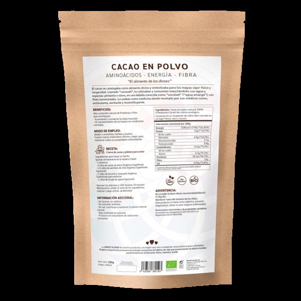 comprar cacao en polvo, un superalimento con beneficios y propiedades para una vida saludable y una alimentación equilibrada
