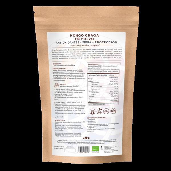 comprar hongo chaga en polvo, un superalimento con beneficios y propiedades para una vida saludable y una alimentación equilibrada