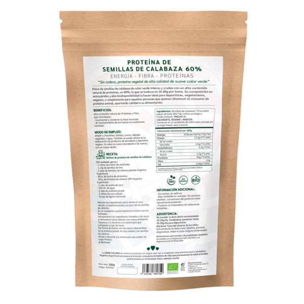 comprar proteína de calabaza, un superalimento con beneficios y propiedades para una vida saludable y una alimentación equilibrada