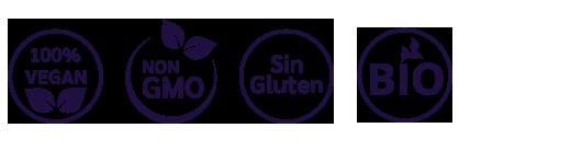 sin gluten, 100% vegan, 100% vegano, sin gmo, bio