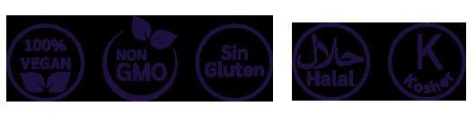 sin gluten, 100% vegan, 100% vegano, sin gmo, halal, kosher