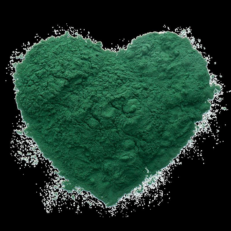 corazón verde de spirulina en polvo, un superalimento